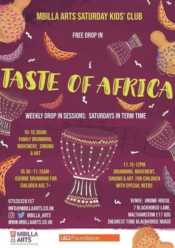 Taste of Africa drumming workshop poster L%Q 2020