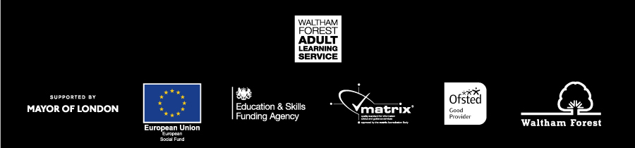 Footer with logos Adult Learning Service
