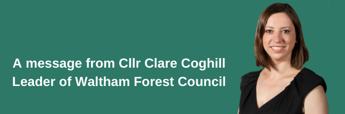 Leader of the Council Clare Coghill green background