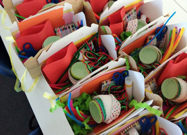 Closeup of art and craft supplies for FAN Share-ArtBox