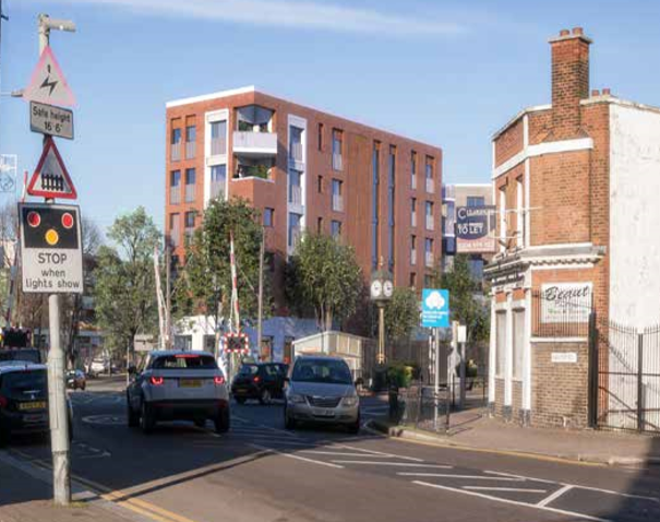 Proposed view from main station junction between Hale End Road and Larkshall Road