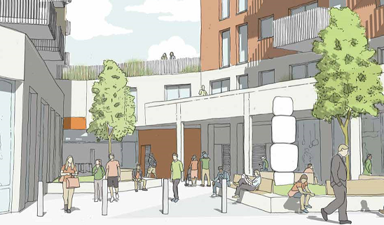 Proposed public realm and entrance to Highams Park Station.