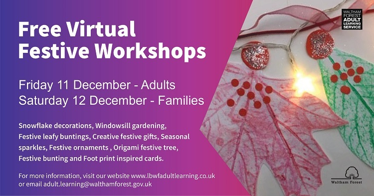 Adult Learning Services Christmas 2020 workshops