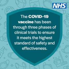 An image with text about  Covid-19 vaccine safety