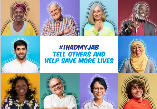 Image featuring ten people with #ihadmyjab in the middle