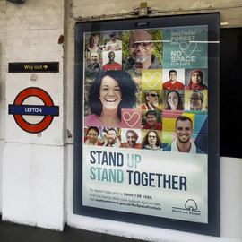 No Space For Hate advertisement at Leyton Underground station