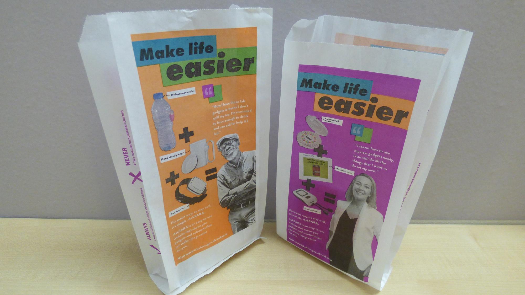 AskSARA printed pharmacy bags