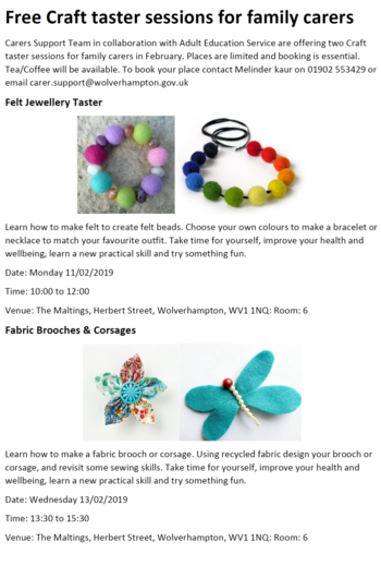 Craft sessions Feb 2019