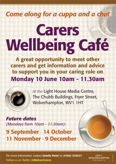 Carers Wellbeing Cafe 10th June