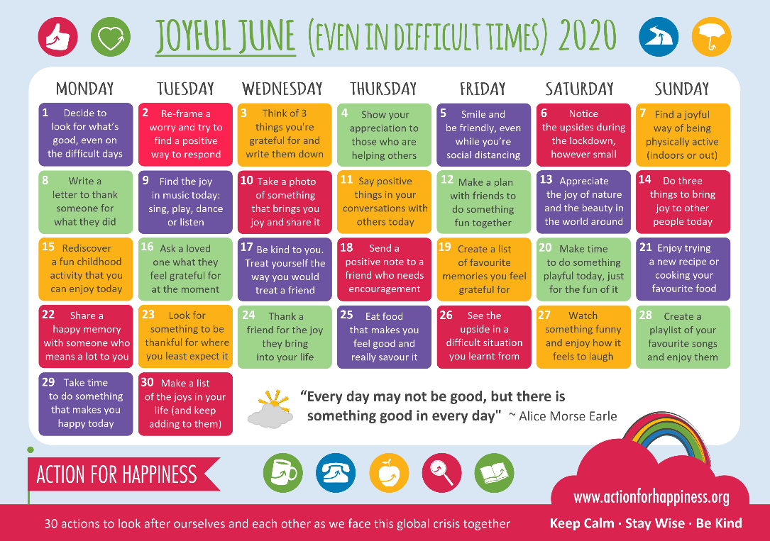 Action For Happiness June Calendar