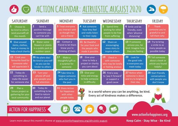 AFH August 2020 Calendar