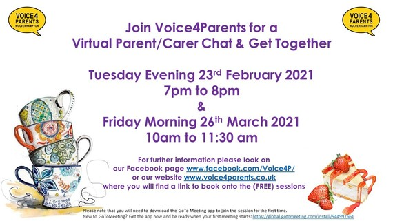 Voice4Parents virtual coffee mornings