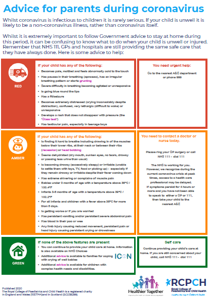 advice poster for parents and children during covid-19