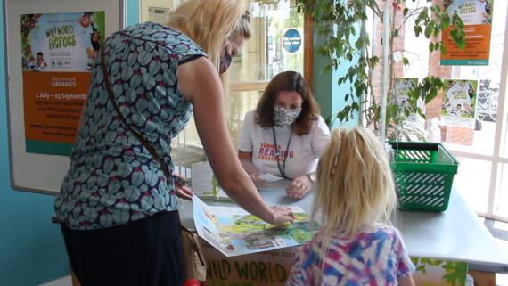 Lynne Doherty volunteering at Newbury Library