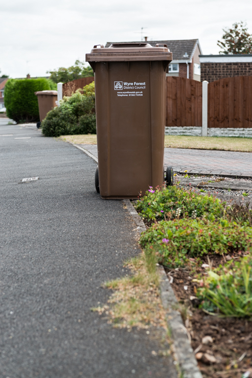 Brown garden waste bin