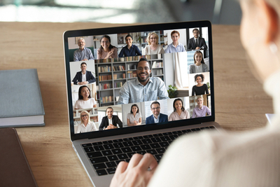 Stock photograph of remote meeting