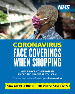 Woman shopping face covering
