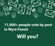 Graphic explaining 11000 people vote by post in Wyre Forest