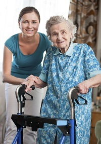 Senior with home health aid