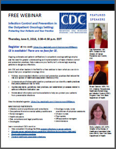FREE CDC Webinar for Outpatient Oncology Providers: