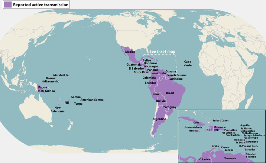 Zika affected countries map