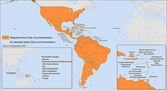 Map of areas affected by Zika