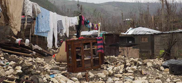 Home in Moron, Haiti completely destroyed during Hurricane Matthew
