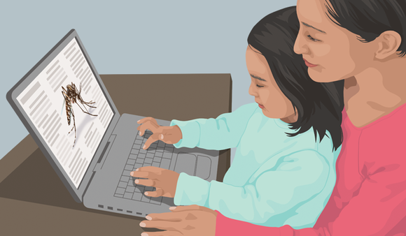mother and child on computer