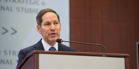 Dr. Tom Frieden speaking at a podium