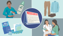 Image of a January 2017 calendar with prevention images surrounding it