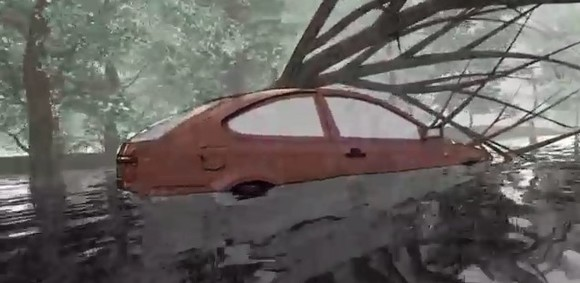 Car getting stuck in water under fallen tree