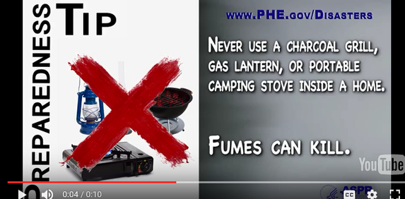 Tip: Never use grill, gas lantern, or camp stove inside