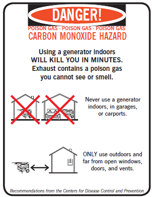 Flyer warning to keep generators outdoors, 20 feet from home