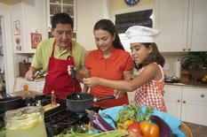 Hispanic family cooking