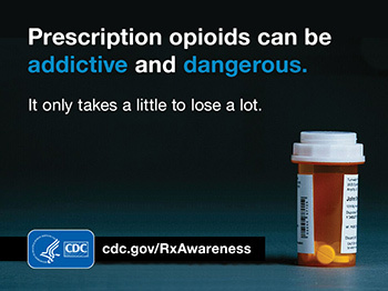 Prescription opioids can be addictive and dangerous. It only takes a little to lose a lot. HHS CDC cdc.gov/RxAwareness