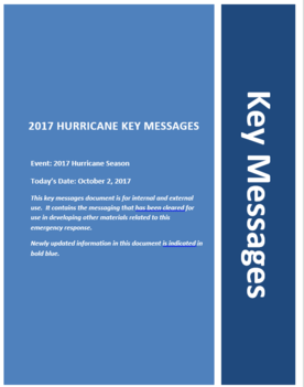Front cover of key messages for October 2, 2017