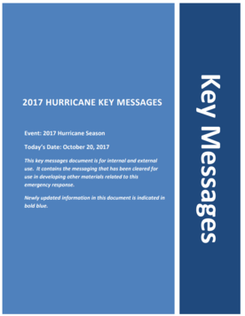 Cover for Key Messages dated October 20, 2017