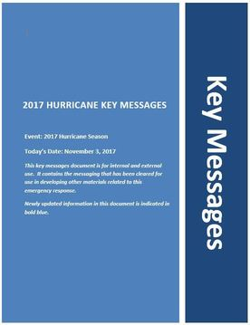 Key Messages Cover Page, November 3, 2107