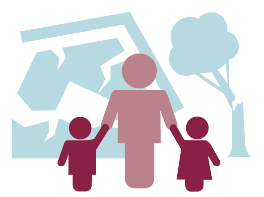 Icon of an person holding the hands of two children in the foreground, icon of broken house and broken tree in background