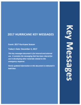 Covery for key messages dated December 4, 2017