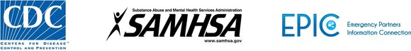 CDC, EPIC, and SAMHSA logos