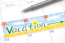 calendar with vacation dates circled