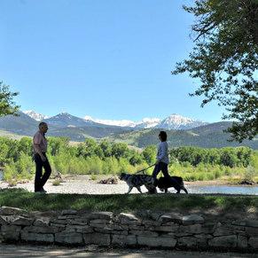 Montana employees walking outdoors