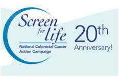 CDC Screen for Life logo with 20 year celebration