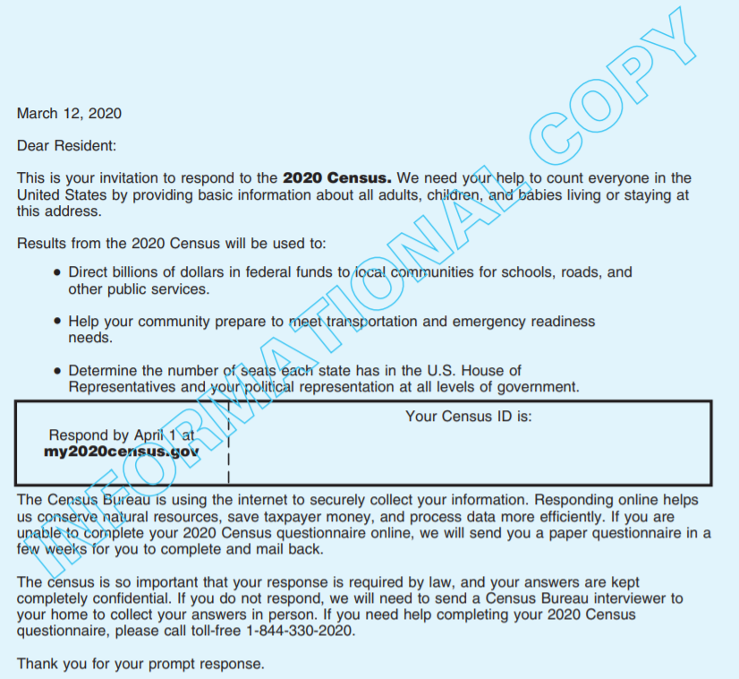 2020 Census Invitation Letter (Informational Copy)