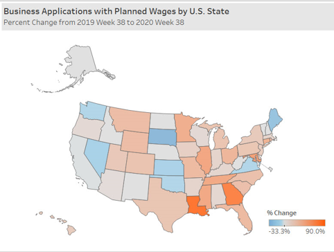 A color-coded U.S. map showing the percent change from week 38 2019 to week 38 2020 of business applications with planned wages by U.S. state.