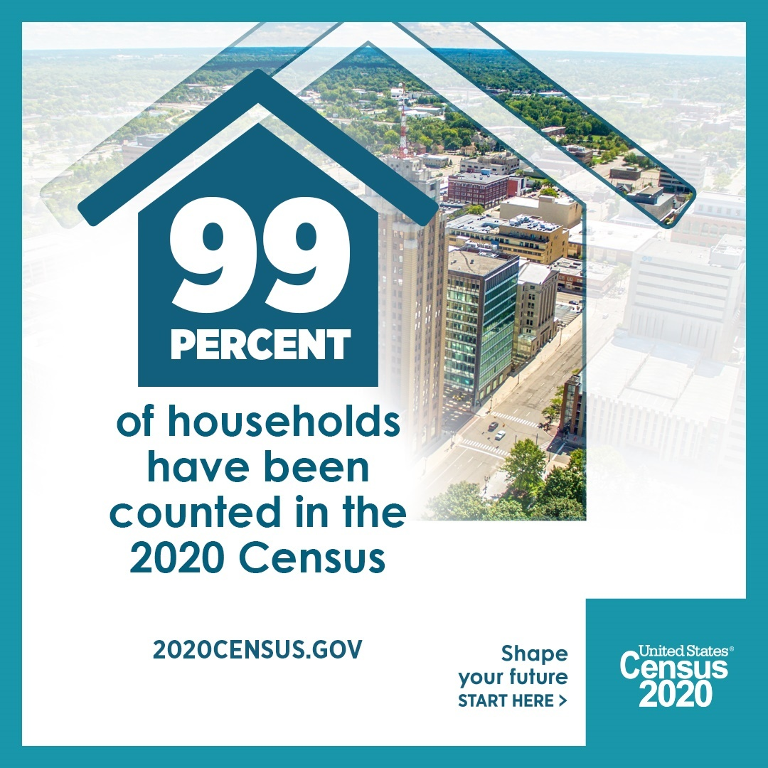 99 Percent of Households Have Been Counted in the 2020 Census