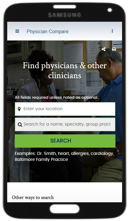 Screenshot of Medicare.gov Physician Compare website home
