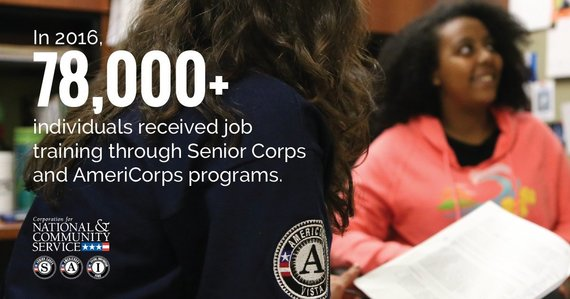 In 2016, more than 78,000 people received job training through AmeriCorps and Senior Corps programs.