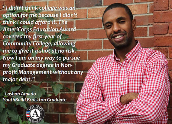 Lashon Amado graduated from YouthBuild AmeriCorps and is now pursuing a graduate degree in non-profit management, thanks to the program.